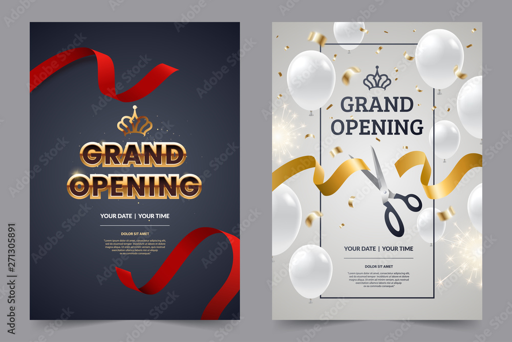 Fototapeta Grand opening invitation flyer with red and gold cut ribbons and scissors. Golden text on luxury background. Falling confetti with white balloons. Opening invitation design. Vector eps 10.