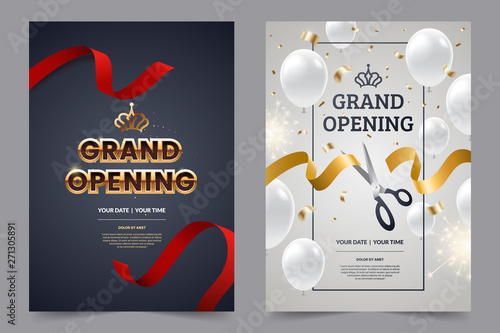 Foto Grand opening invitation flyer with red and gold cut ribbons and scissors