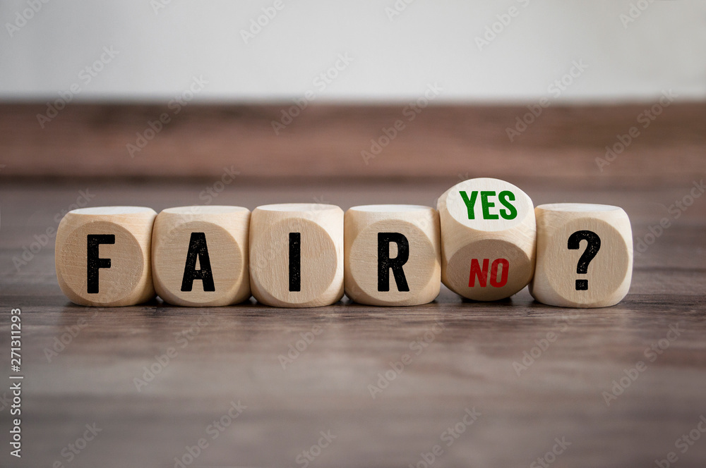 Fototapeta Cubes and dice with fair yes or no on wooden background
