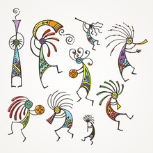 Hand Drawn Kokopelli Figures. Stylized Mythical Characters Playing Flutes.