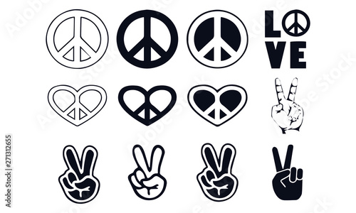 Peace sign vector design black and white