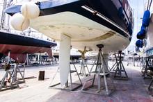 Boat Maintenance At The Shipyard
