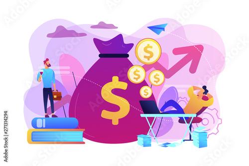 Fototapeta Stock market investing, online monetization. Remote job, freelance work. Passive income, rental activity income, passive income investment concept. Bright vibrant violet vector isolated illustration obraz