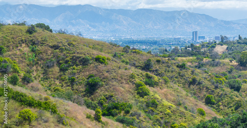 Fotografiet lush green rolling hills with the city of Los Angeles in the distance under hazy
