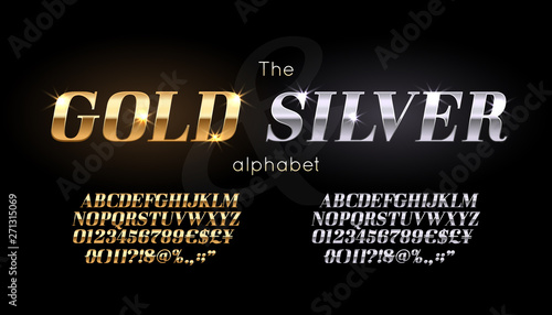 Fototapeta Silver and Gold serif font and alphabet. Vintage abc, vector english letters and numbers obraz