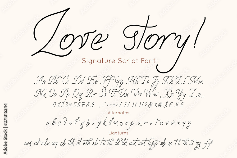 Love Story Vector Font And Alphabet Vintage Letters And