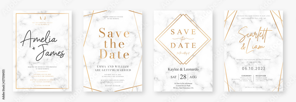 Fototapeta Wedding card design with golden frames and marble texture. Set of wedding announcement or invitation design template with geometric patterns and luxury background. Vector