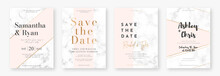 Wedding Card Design Template With Golden Frames And Marble Texture. Set Of Wedding Announcement Or Invitation Design Template With Geometric Patterns And Pink Background. Vector