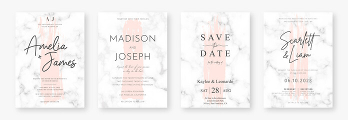 Wedding card design with pink brush strokes and marble texture. Set of wedding announcement or invitation design template