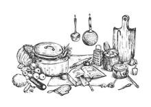 Home Cooking Still Life Illust...