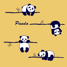 Vector  Pattern Cute Little Panda Bear On A Tree Branch In Different Poses ,on Yellow Background