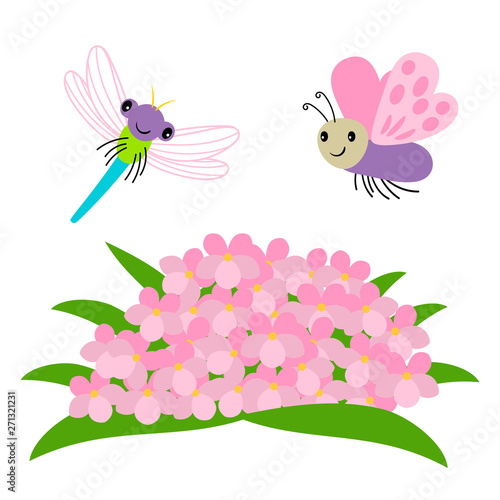 Obraz na plátně  Cartoon dragonfly and butterfly flying under flowers vector illustration