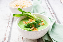 Green Thai Curry With Spinach, Bok Choy, Tofu, Coriander And Jasmine Rice