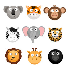 Wild Animal Emoticons. Vector ...
