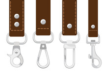 Leather Belts With Carabine Clasp Collection Vector. Hook Accessory For Link Illustration