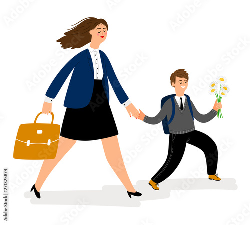 Obraz Mother with son going in school, boy bring flowers. Parent hold kid and walk to study. Vector illustration - fototapety do salonu