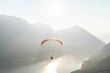 Austria, Tyrol, Paraglider Ove...