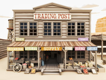 Polygon Illustration Toon Style Of A Western Town Trading Post With Various Groceries And Goods. 3d Rendering
