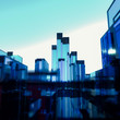 Abstract glass cityscape of rectangular polygons