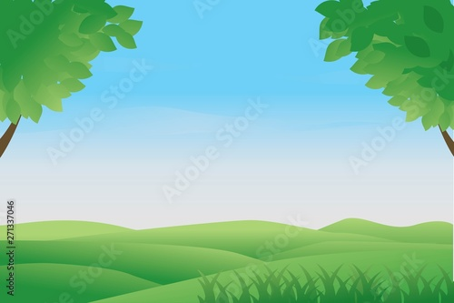 Landscape vector illustration can be used for graphic design or web background. Fresh spring or summer background