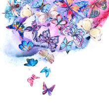 Watercolor Butterflies Vintage Card, Ultraviolet Butterfly