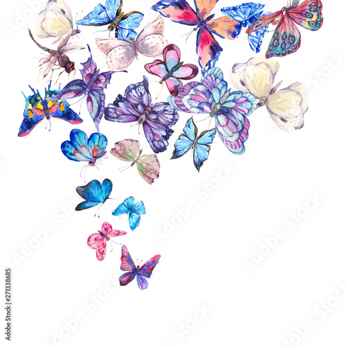 Leinwandbilder - Watercolor butterflies vintage card, Ultraviolet butterfly