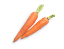 Fresh Ripe Carrots On White Background, Top View