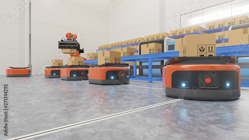 Fotografiet  Factory Automation with AGV and robotic arm in transportationto increase transport more with safety