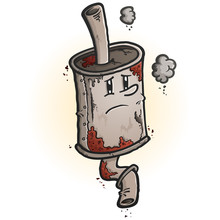 An Old Scrap Rusted Car Muffler Cartoon Character With A Melancholy Face