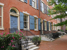 Well Preserved Colonial Era Townhouses, Society Hill Area Of Philadelphia