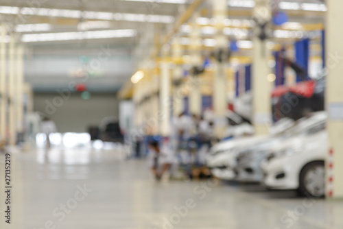 Abstract blur of auto repair service at garage. use for background - 271352219