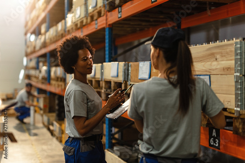 Fotomural  Female warehouse workers communicating in industrial storage compartment