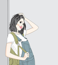Women Carrying Backpacks Against The Walls In The Building.She Found That Today Is A Very Happy Holiday To Go Out.Doodle Art Concept,illustration Painting