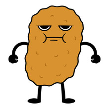 Angry Cartoon Chicken Nugget Character Illustration