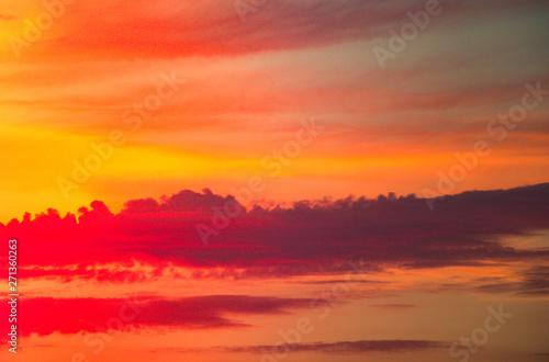 Sunset and sunrise golden sky. with amazing twilight