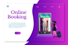 Online Booking Landing Page Layout. Booking Hotel Online Flat Vector Illustration
