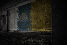 Painted Flag Of Canary Islands On The Dirty Old Wall In An Abandoned Ruined House.