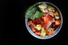 Mix Sushi Donburi In Bowl , Japanese Food