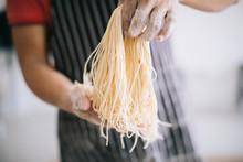 Making Handmade Noodles On Woo...
