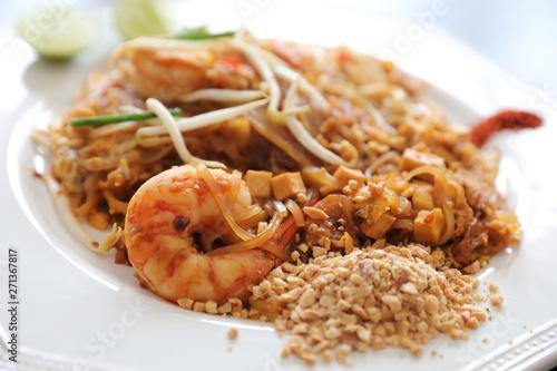 Thai food pad thai fried noodle with shrimp Canvas Print