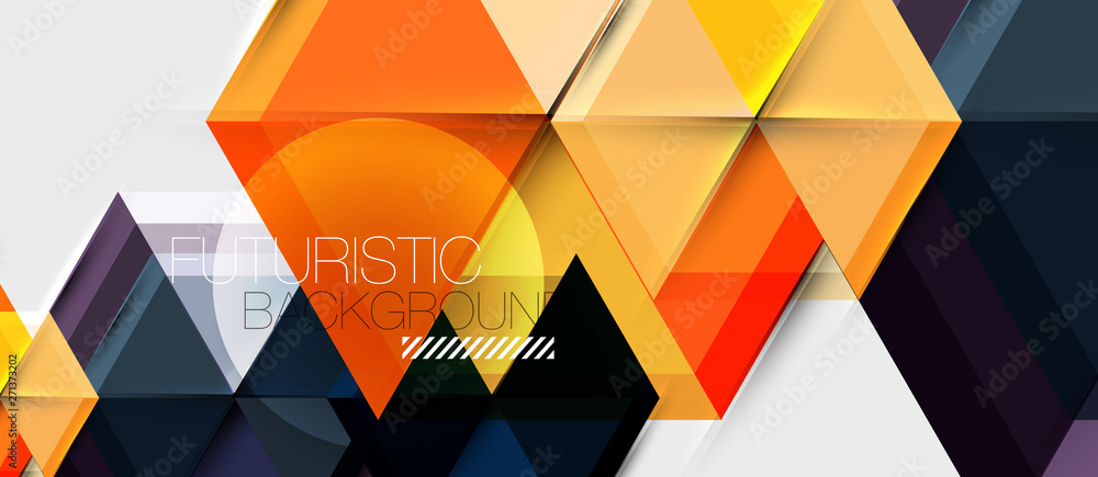 Bright color hexagon geometrical composition background, business presentation template