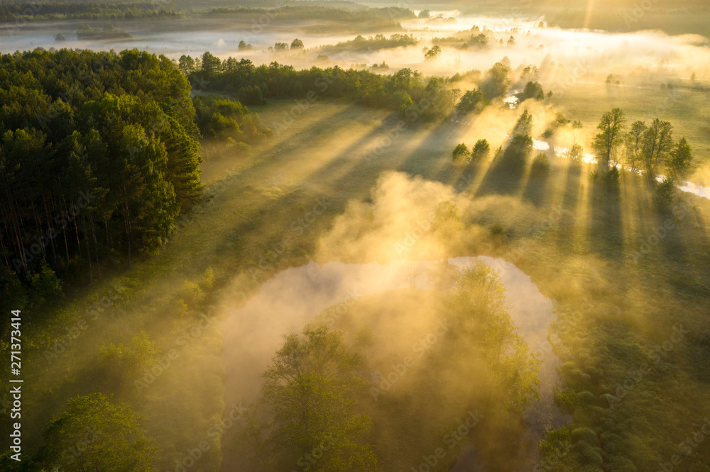Fototapety, obrazy: Scenic summer background. Sunbeams on river nature aerial view. Scenery sunny landscape. Amazing bright sunlight over river. Sun rays on green misty meadow