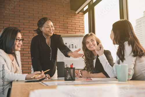 African American businesswoman leader asking for opinion in the meeting Fototapet