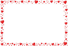 Rectangle Frame Made Of Red Hearts - Vector Illustration - Isolated On White Background