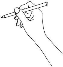 Hand With A Pen. Hand Drawn Vector Illustration.