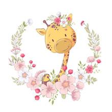Postcard Poster Cute Little Giraffe In A Wreath Of Flowers. Hand Drawing. Vector