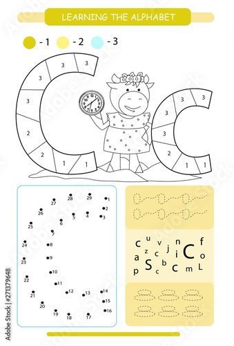 Letter C and funny cartoon cow. Animals alphabet a-z. Coloring ...