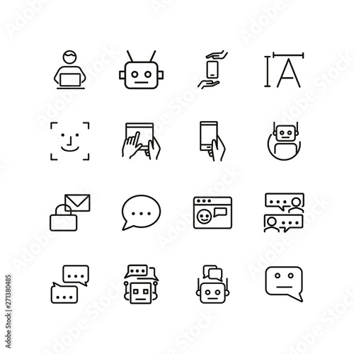 Online chat line icon set  Bot, speech bubble, message