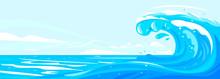 One Big Blue Ocean Wave In Side View Illustration Landscape, Wonderful Surfing Wave In Ocean, Panorama Of Open Deep Sea Ocean With Big Wave