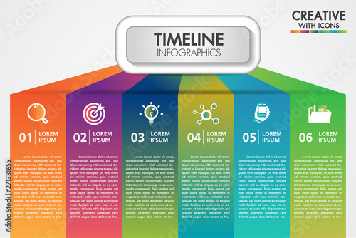 Obraz Vector business infographics presentation with 6 steps or options design with icons. Can be used place for text for presentations banner, workflow layout, process diagram, flow chart, info graph. - fototapety do salonu